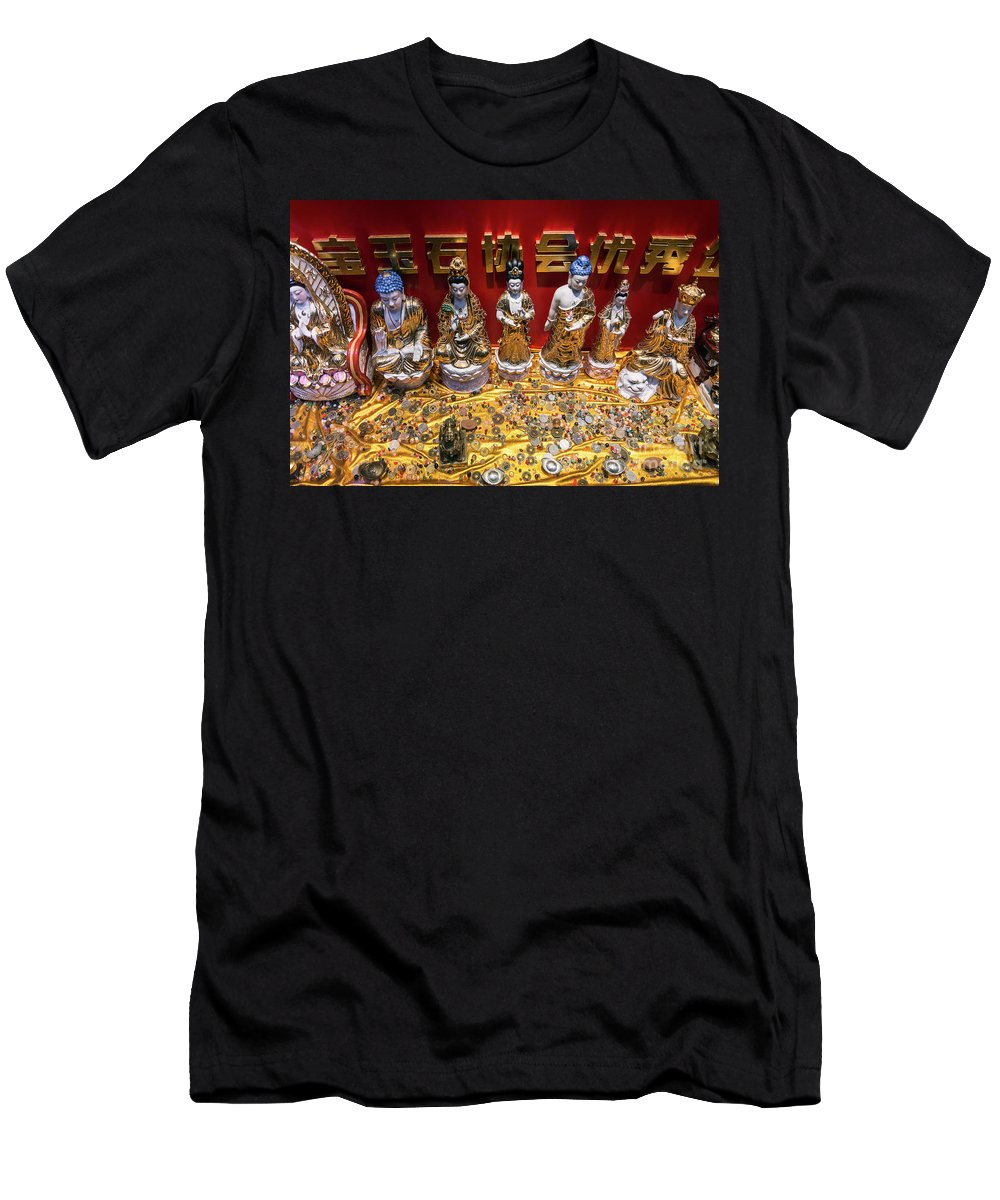 Amulets Men's T-Shirt (Athletic Fit) featuring the photograph Chinese Religious Trinkets And Statues On Display In Xiamen Chin by Jacek Malipan