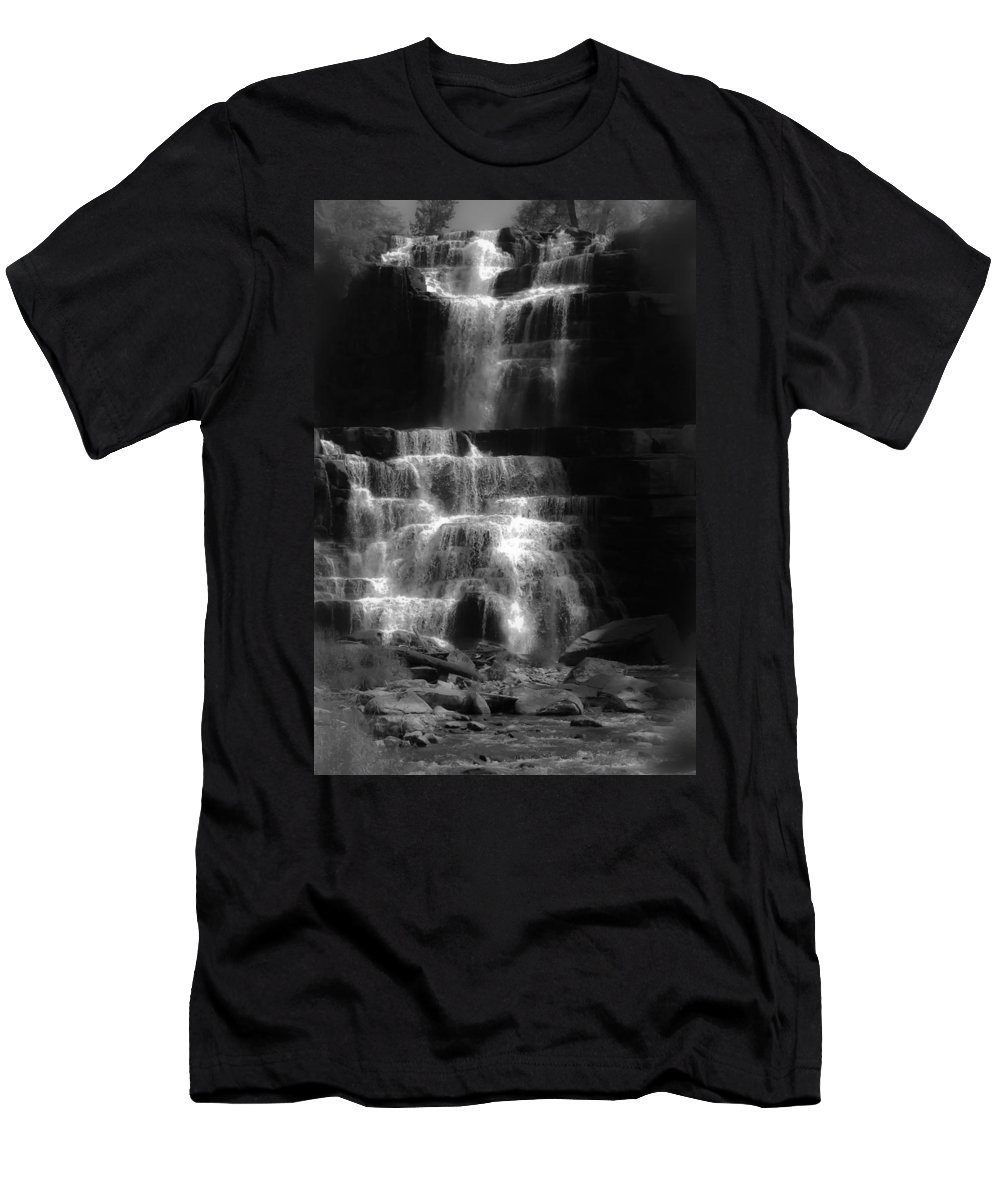 Chittenango Falls Men's T-Shirt (Athletic Fit) featuring the digital art Chittenango Falls Bw by DigiArt Diaries by Vicky B Fuller