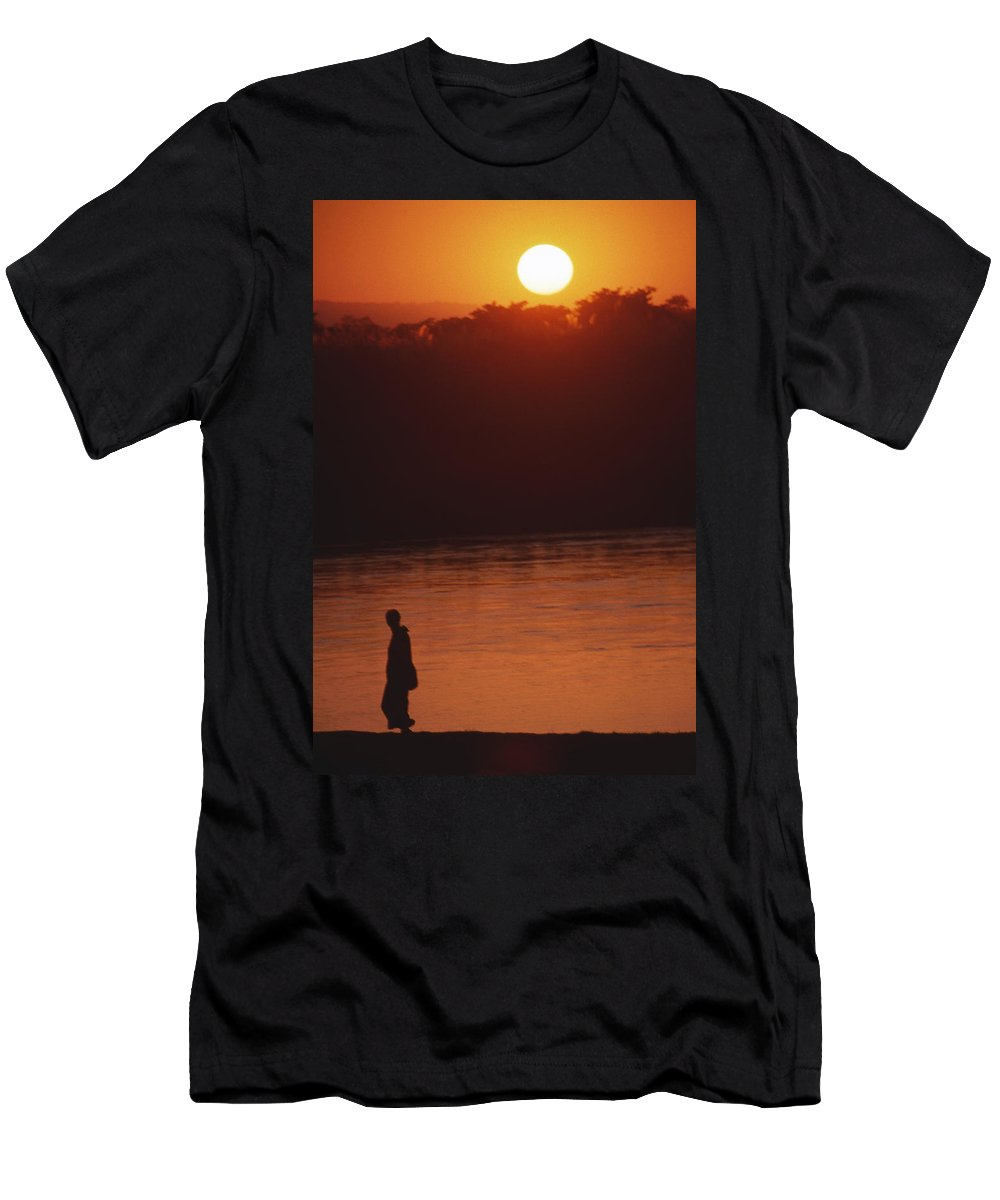 Sunset Men's T-Shirt (Athletic Fit) featuring the photograph Chitwan Sunset by Patrick Klauss