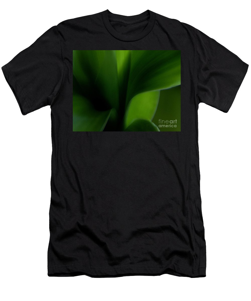 Lucky Bamboo Men's T-Shirt (Athletic Fit) featuring the photograph Chlorophylls Selectivity by Linda Shafer