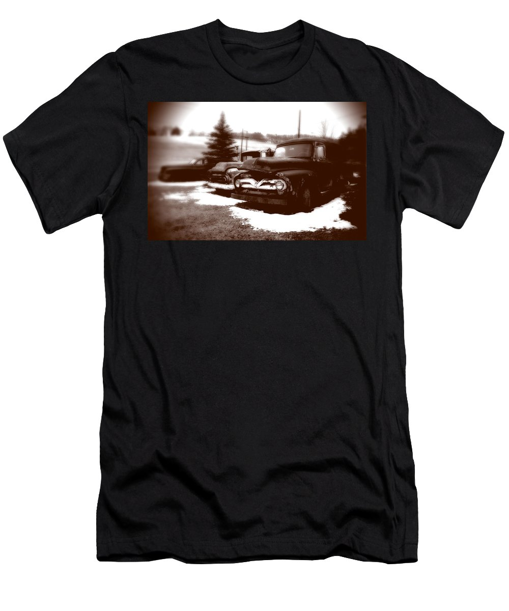 Old Cars Men's T-Shirt (Athletic Fit) featuring the photograph Chocolate Ghosts by Jean Macaluso