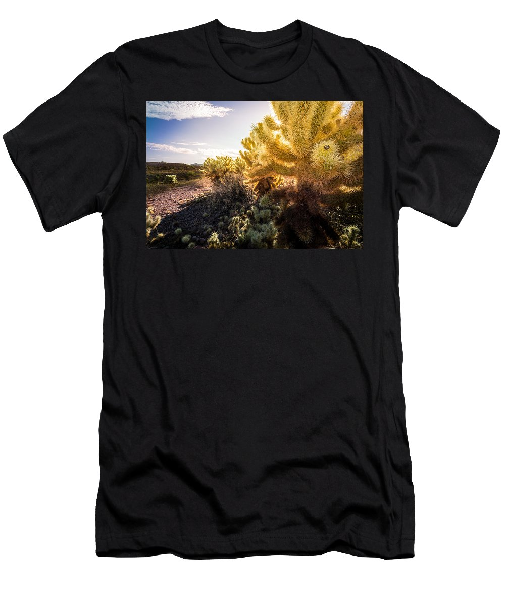Superstition Men's T-Shirt (Athletic Fit) featuring the photograph Cholla Cactus by Jon Manjeot