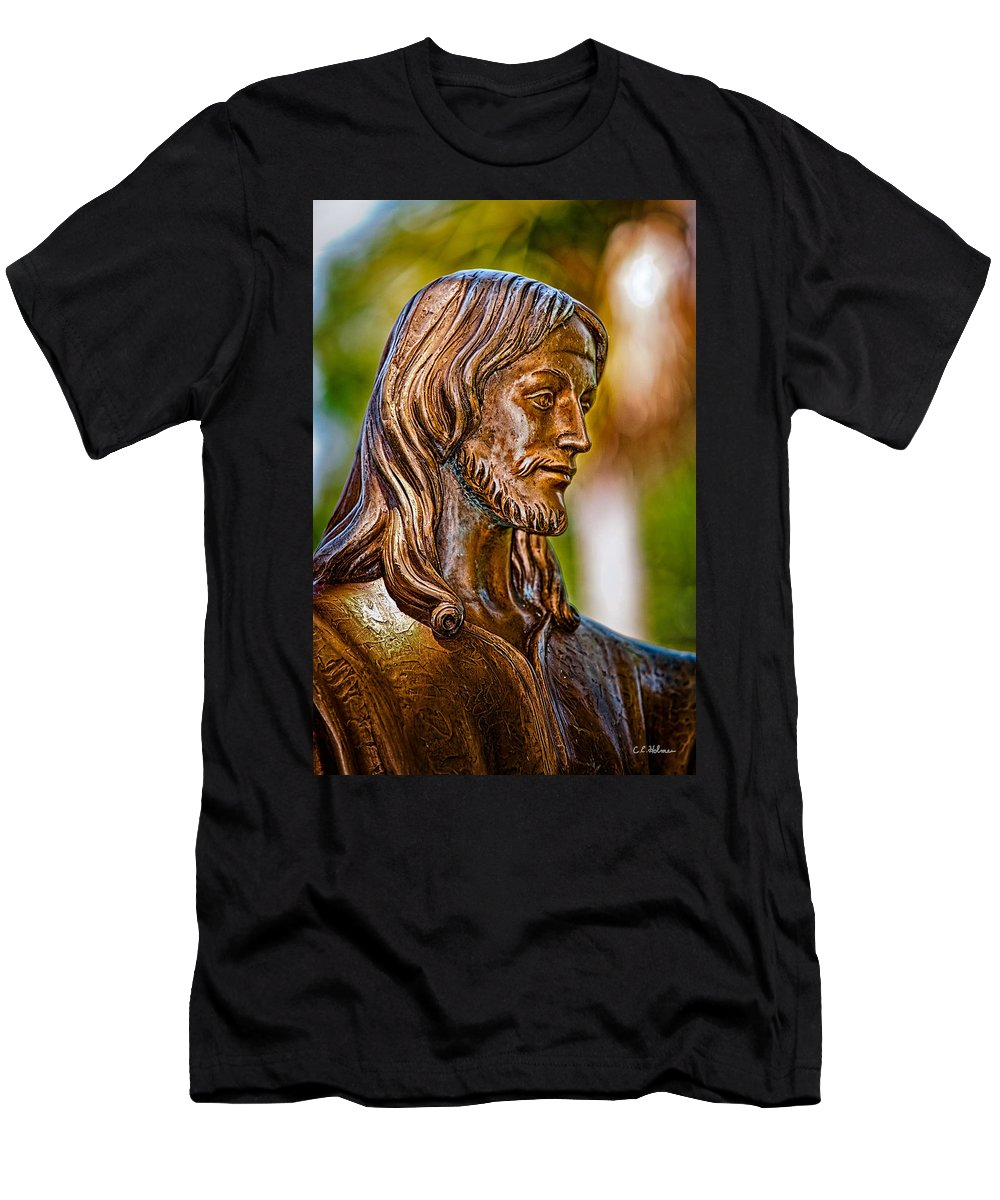 Statue Men's T-Shirt (Athletic Fit) featuring the photograph Christ In Bronze by Christopher Holmes