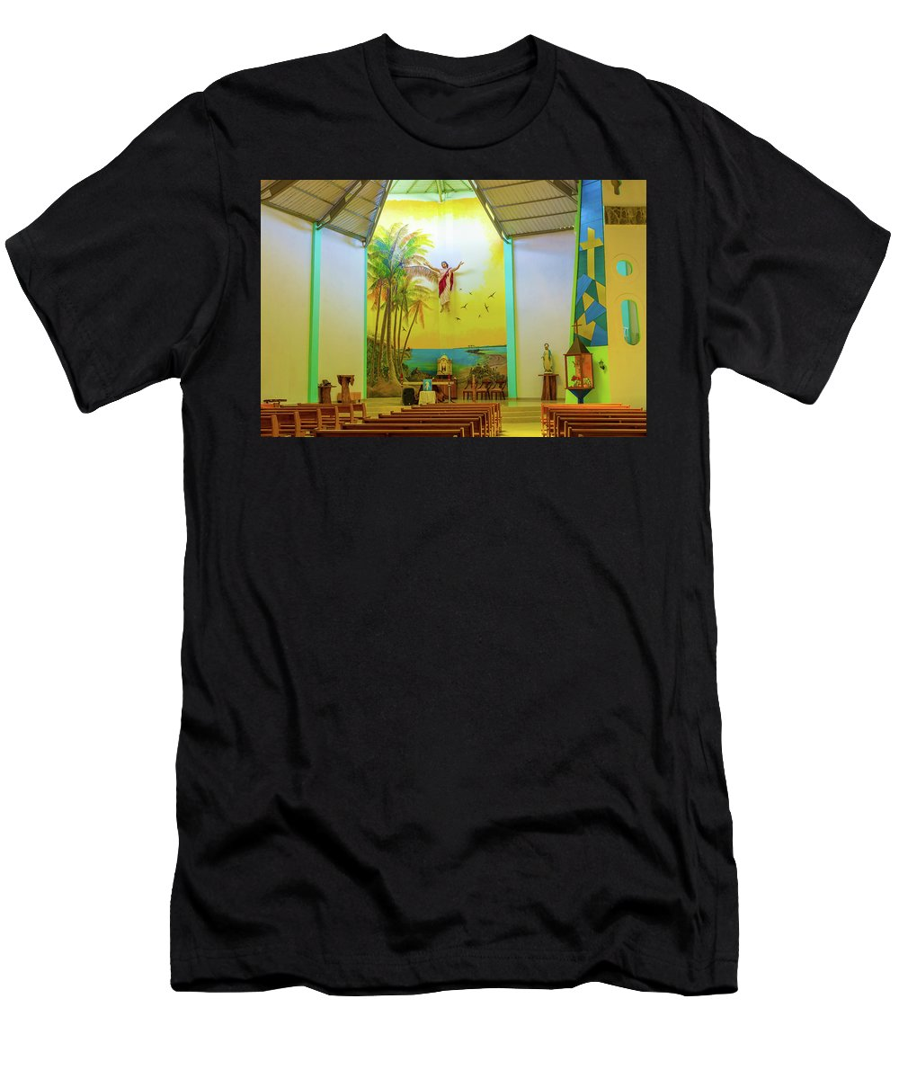 Christ Men's T-Shirt (Athletic Fit) featuring the photograph Christ Saviour Parish Church On Isabela Island In Galapagos by Marek Poplawski