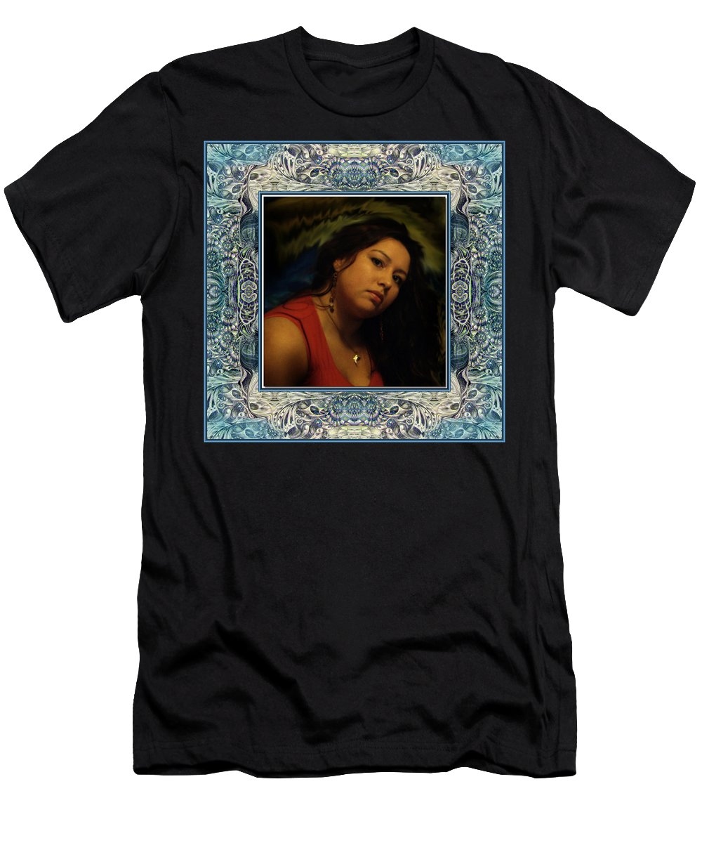 Portrait Glamour Fantasy Muse Men's T-Shirt (Athletic Fit) featuring the digital art Christan Cameo by Otto Rapp