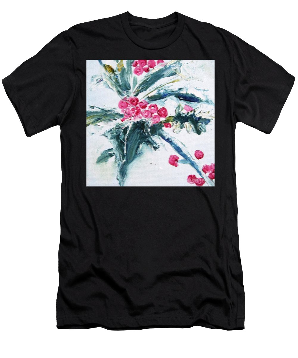 Holly Men's T-Shirt (Athletic Fit) featuring the painting Christmas Berries by Angela Cartner