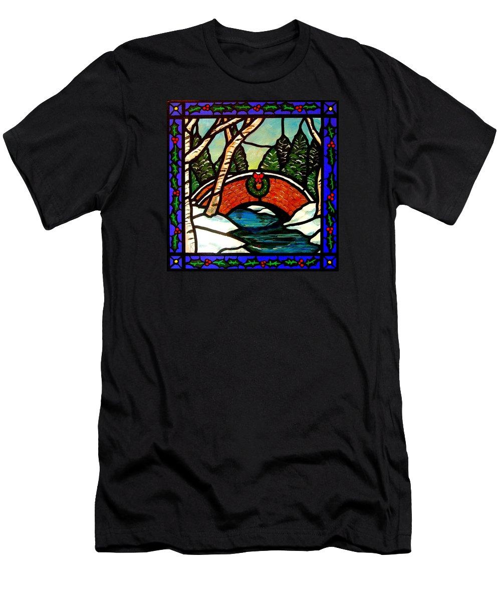 Bridge Men's T-Shirt (Athletic Fit) featuring the painting Christmas Bridge by Jim Harris