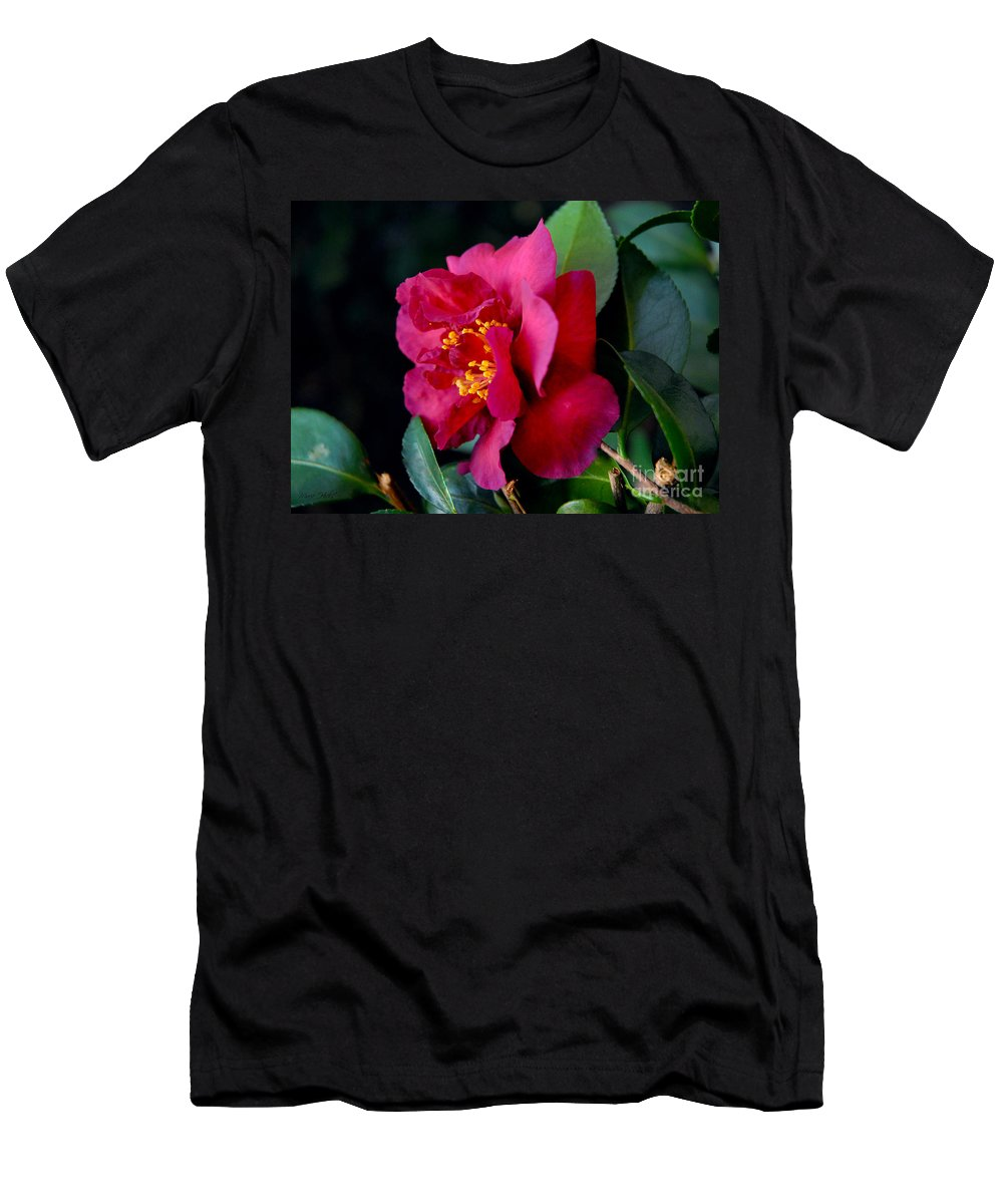 Camellia Men's T-Shirt (Athletic Fit) featuring the photograph Christmas Camellia by Marie Hicks
