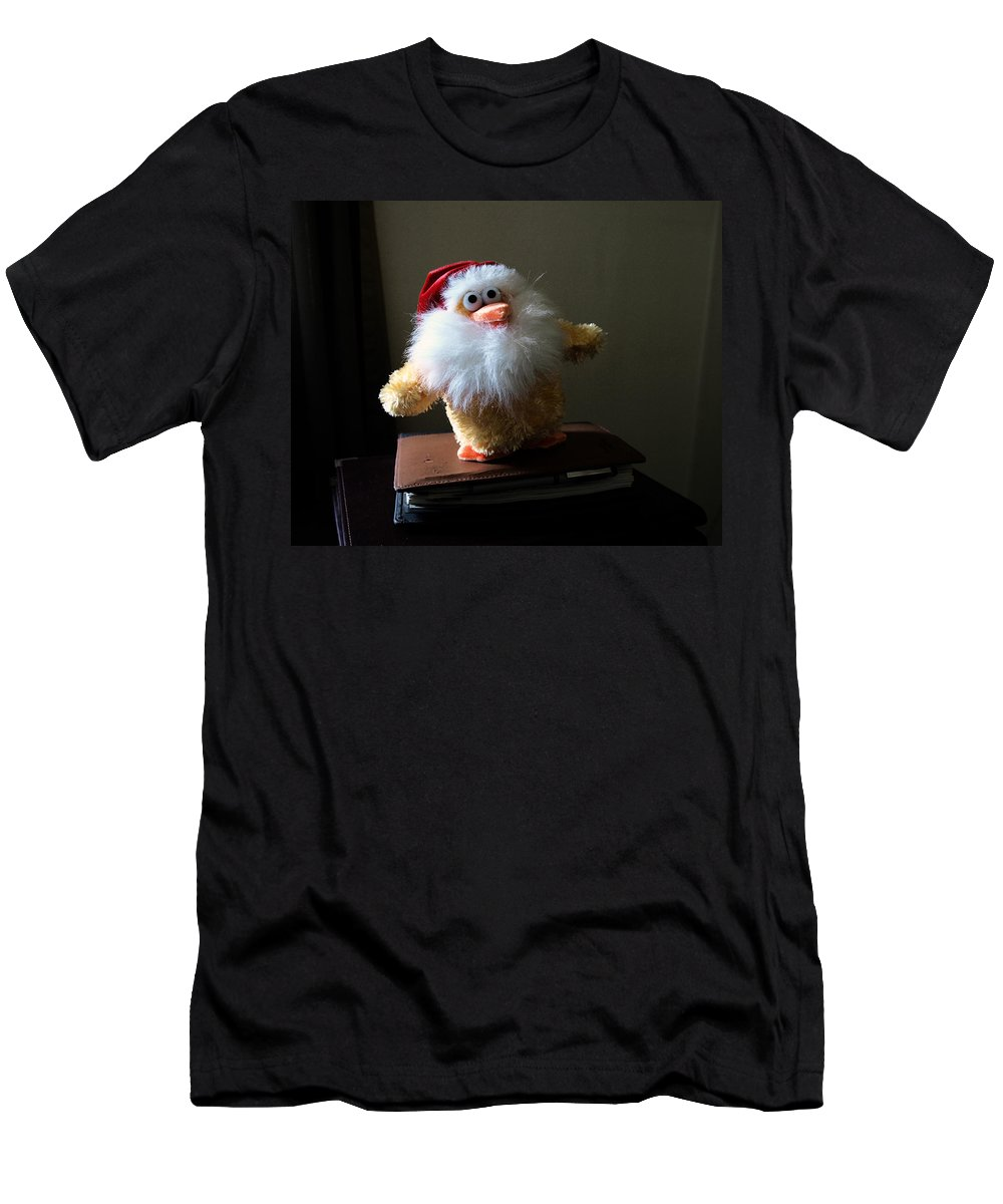 Chicken; Leftover; Appeal; Mercy; Bird; Fowl; Meal; Eat; Food; Pathos; Stuffed; Animal; Plead; Compa Men's T-Shirt (Athletic Fit) featuring the photograph Christmas Chicken by Allan Hughes
