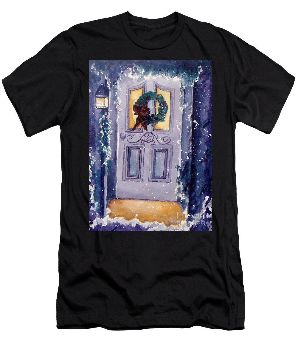 Holiday Scene Men's T-Shirt (Athletic Fit) featuring the painting Christmas Eve by Jan Bennicoff