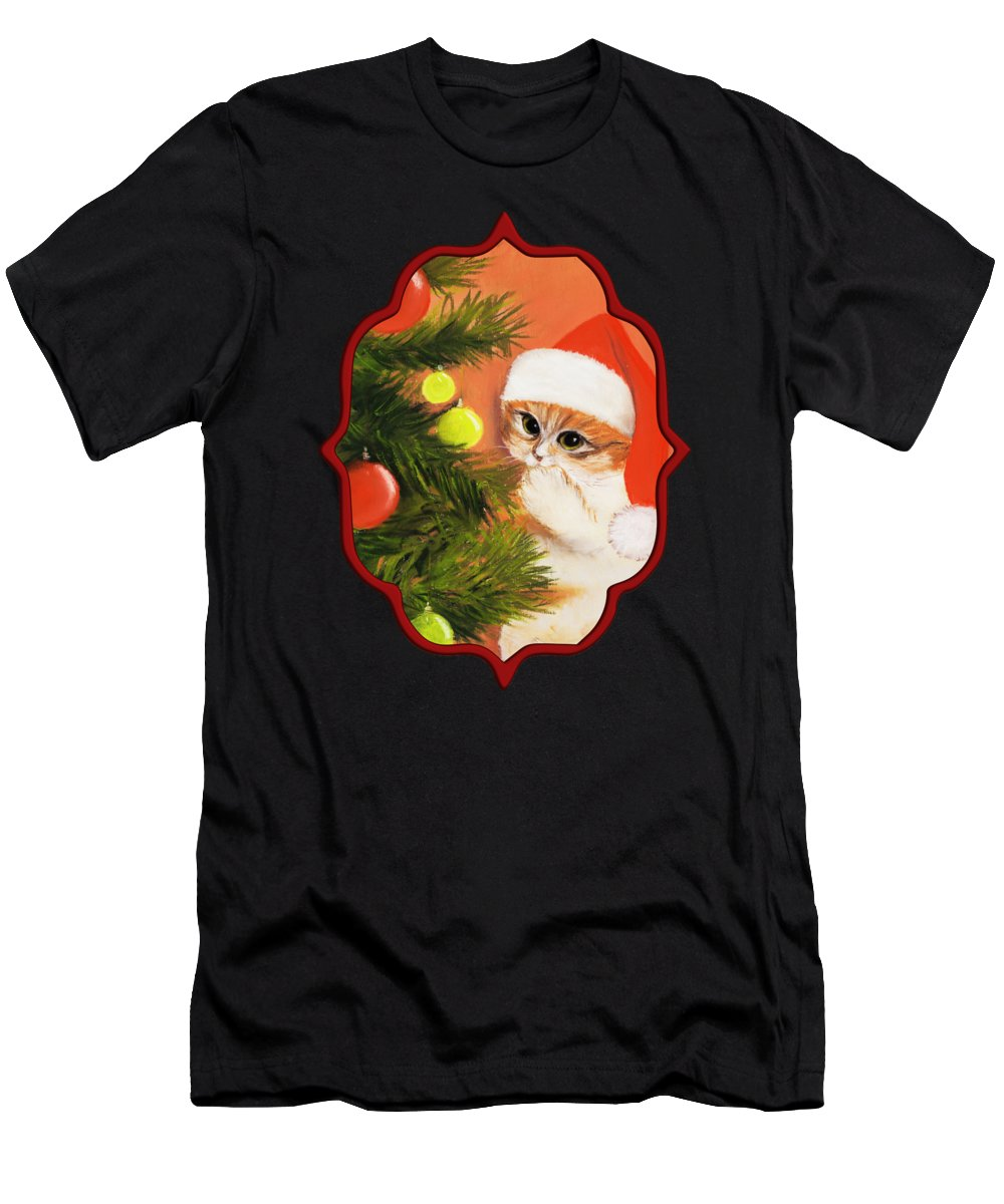 Malakhova Men's T-Shirt (Athletic Fit) featuring the painting Christmas Kitty by Anastasiya Malakhova