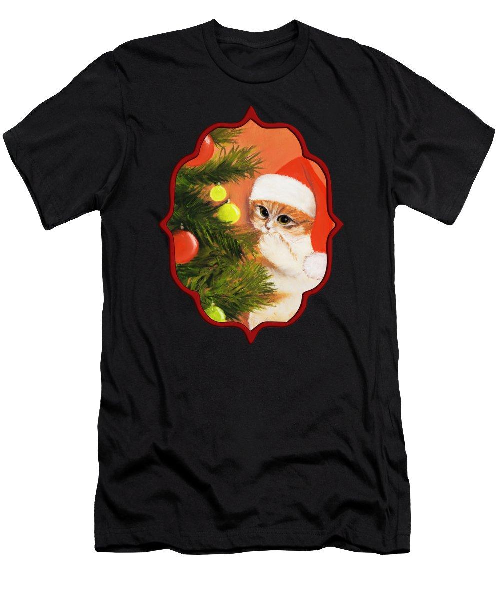 Malakhova Men's T-Shirt (Athletic Fit) featuring the pastel Christmas Kitty by Anastasiya Malakhova