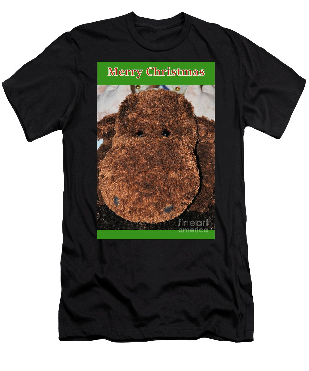 Christmas Men's T-Shirt (Athletic Fit) featuring the digital art Christmas Moose by Eric Pearson