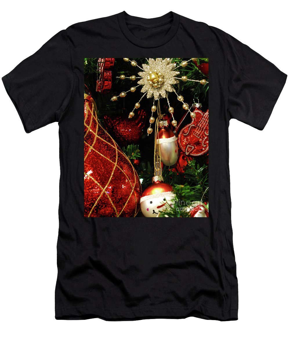 Christmas Men's T-Shirt (Athletic Fit) featuring the photograph Christmas Ornaments 1 by Nancy Mueller