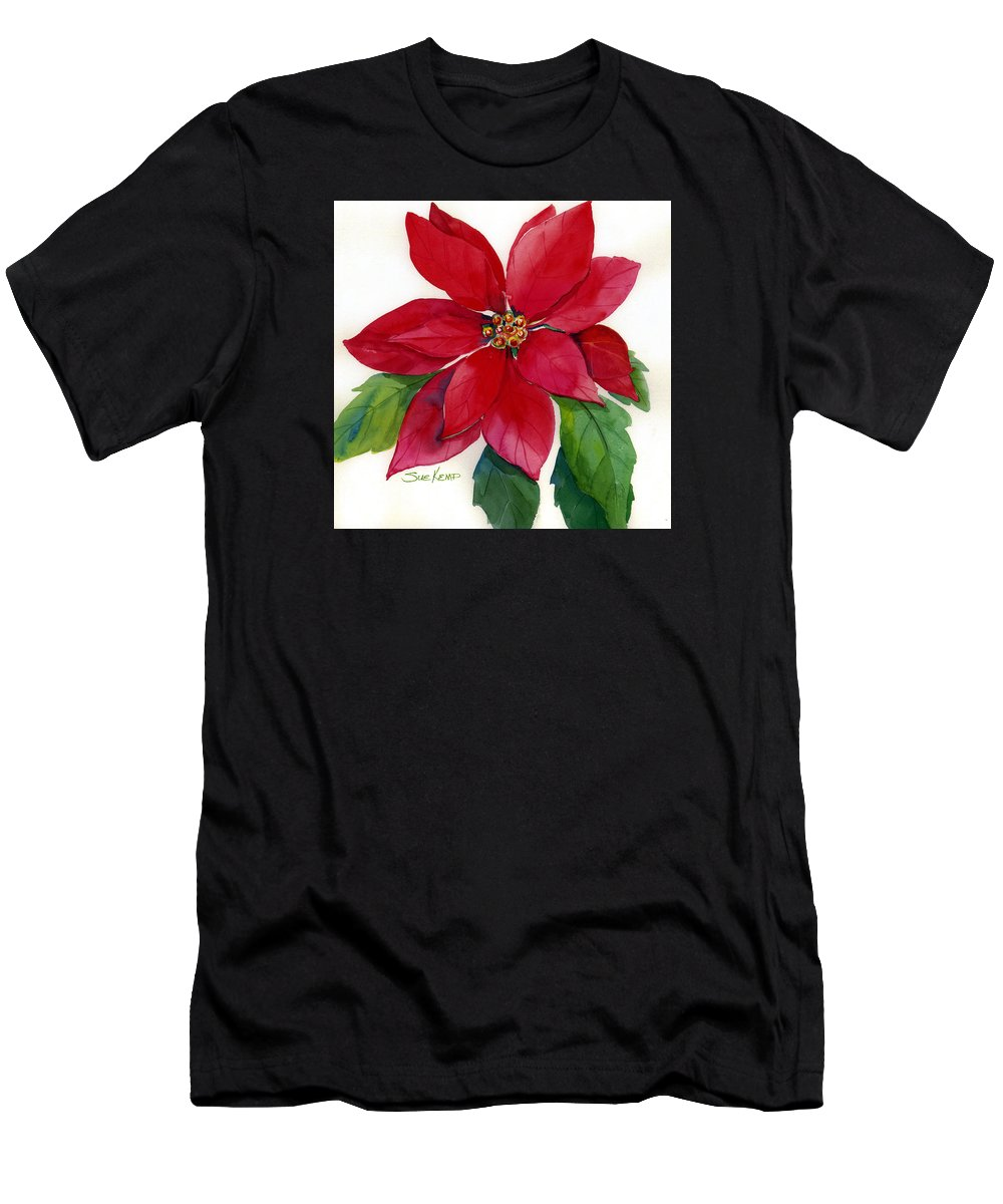 Flower Painting Men's T-Shirt (Athletic Fit) featuring the painting Christmas Poinsettia by Sue Kemp