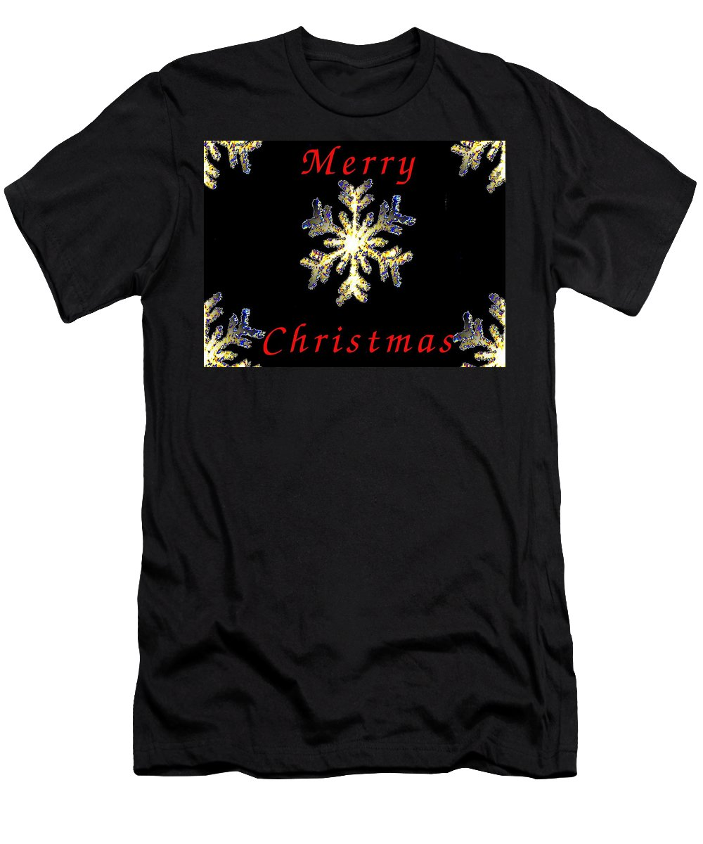 Snow Men's T-Shirt (Athletic Fit) featuring the photograph Christmas Snowflakes by Tim Allen