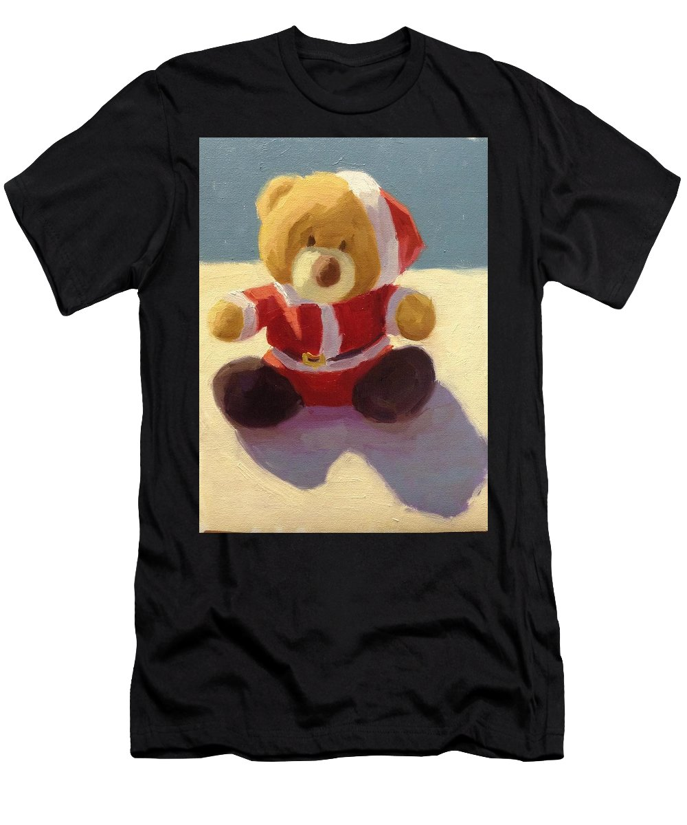 Children Art Men's T-Shirt (Athletic Fit) featuring the painting Christmas Teddy by Aurelia Sieberhagen