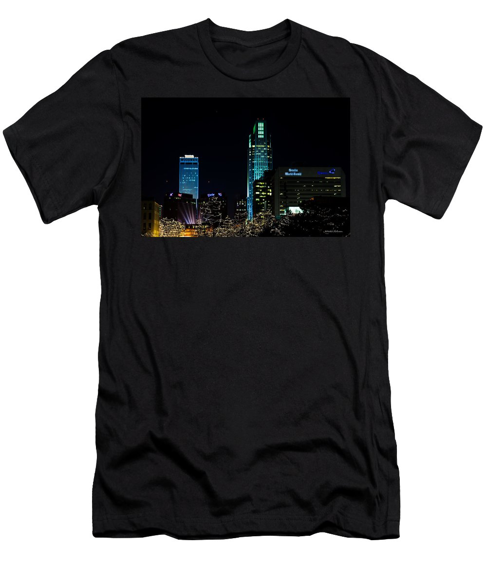 Winter Scene T-Shirt featuring the photograph Christmas Time In Omaha by Edward Peterson