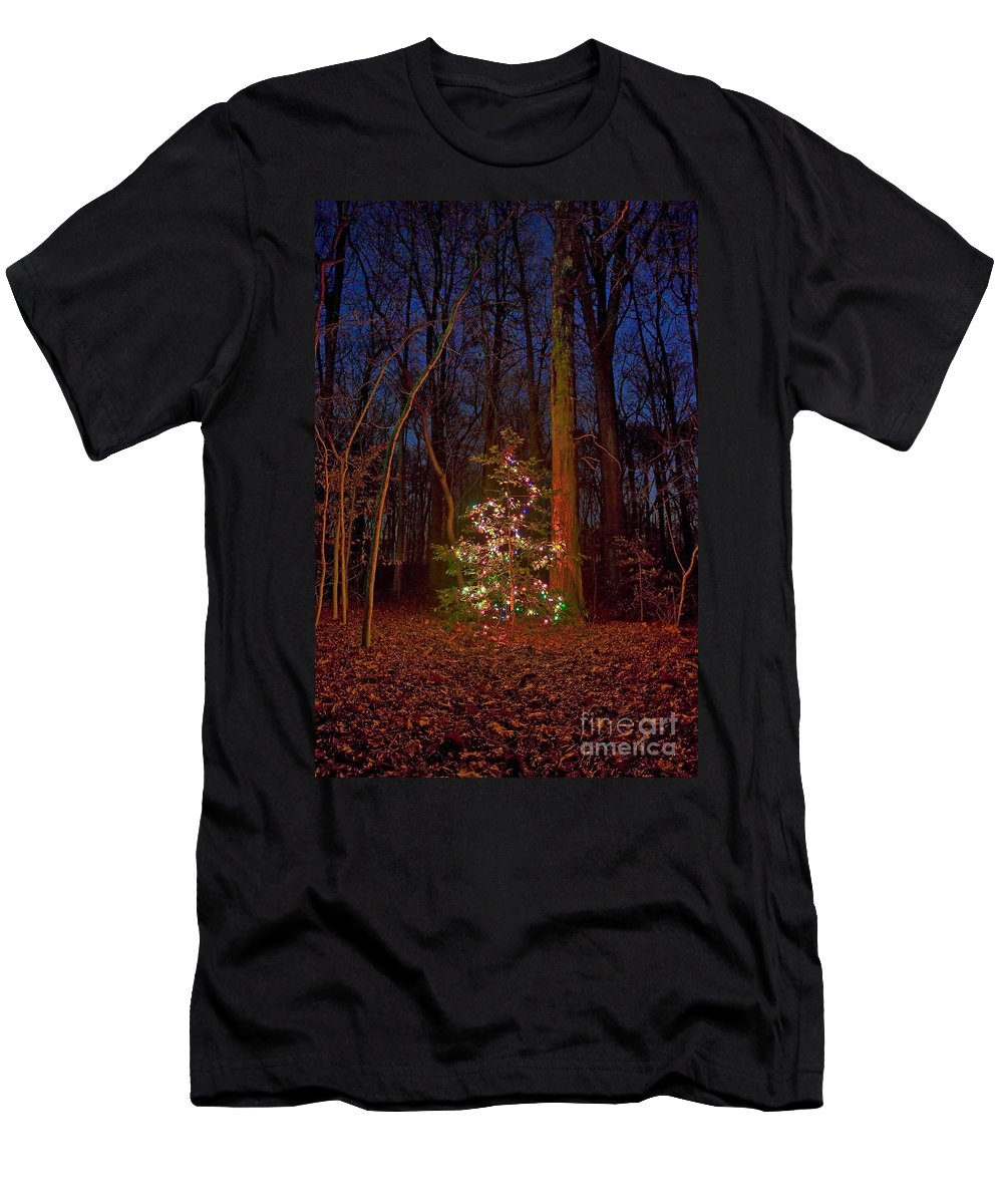 Christmas Men's T-Shirt (Athletic Fit) featuring the photograph Christmas Tree In Forest by John Greim