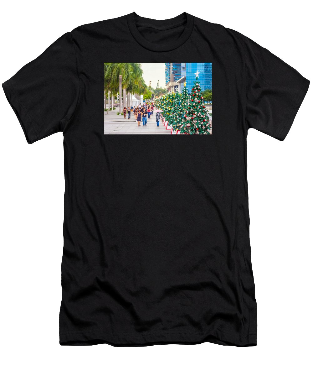 Christmas Men's T-Shirt (Athletic Fit) featuring the photograph Christmas Trees by Jijo George
