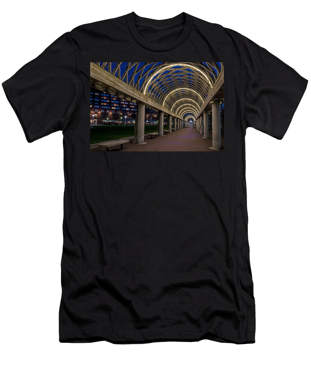 Christopher Men's T-Shirt (Athletic Fit) featuring the photograph Christopher Columbus Park Boston Ma Trellis by Toby McGuire
