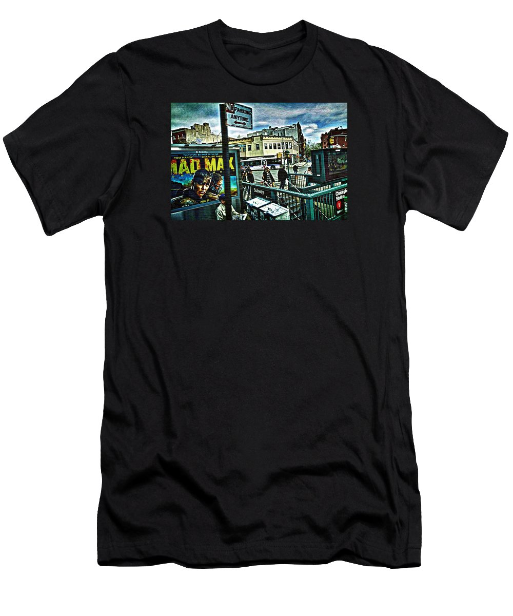 Greenwich Village Street Scene Men's T-Shirt (Athletic Fit) featuring the photograph Christopher Street Greenwich Village by Joan Reese