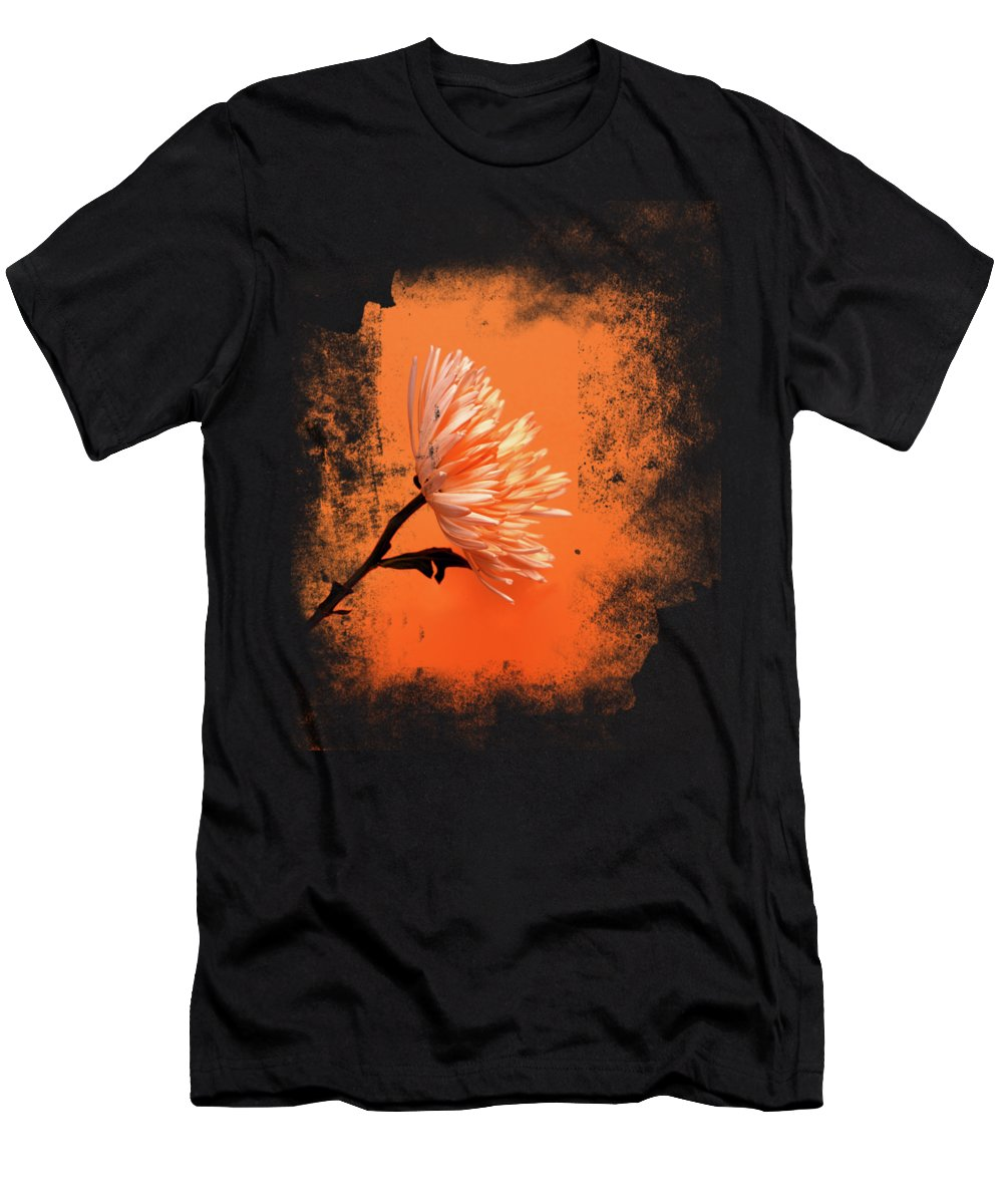 Chrysanthemum Men's T-Shirt (Athletic Fit) featuring the photograph Chrysanthemum Orange by Mark Rogan