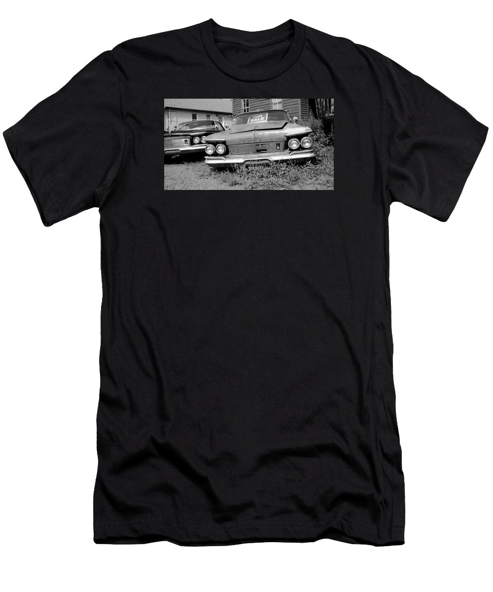 Chrysler Men's T-Shirt (Athletic Fit) featuring the photograph Chrysler Imperials - Bw by Brian Manfra
