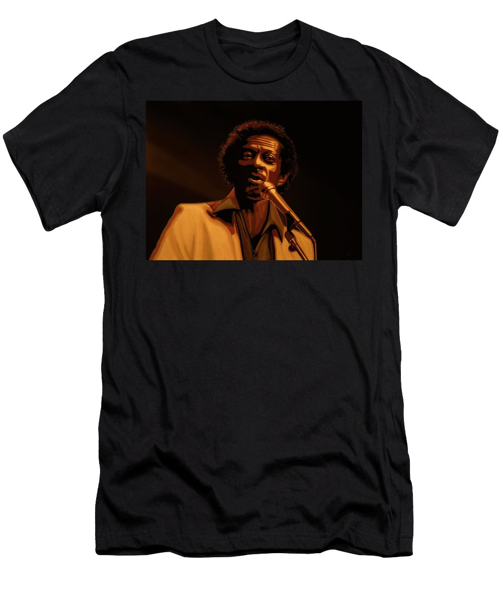 Chuck Berry T-Shirt featuring the mixed media Chuck Berry Gold by Paul Meijering
