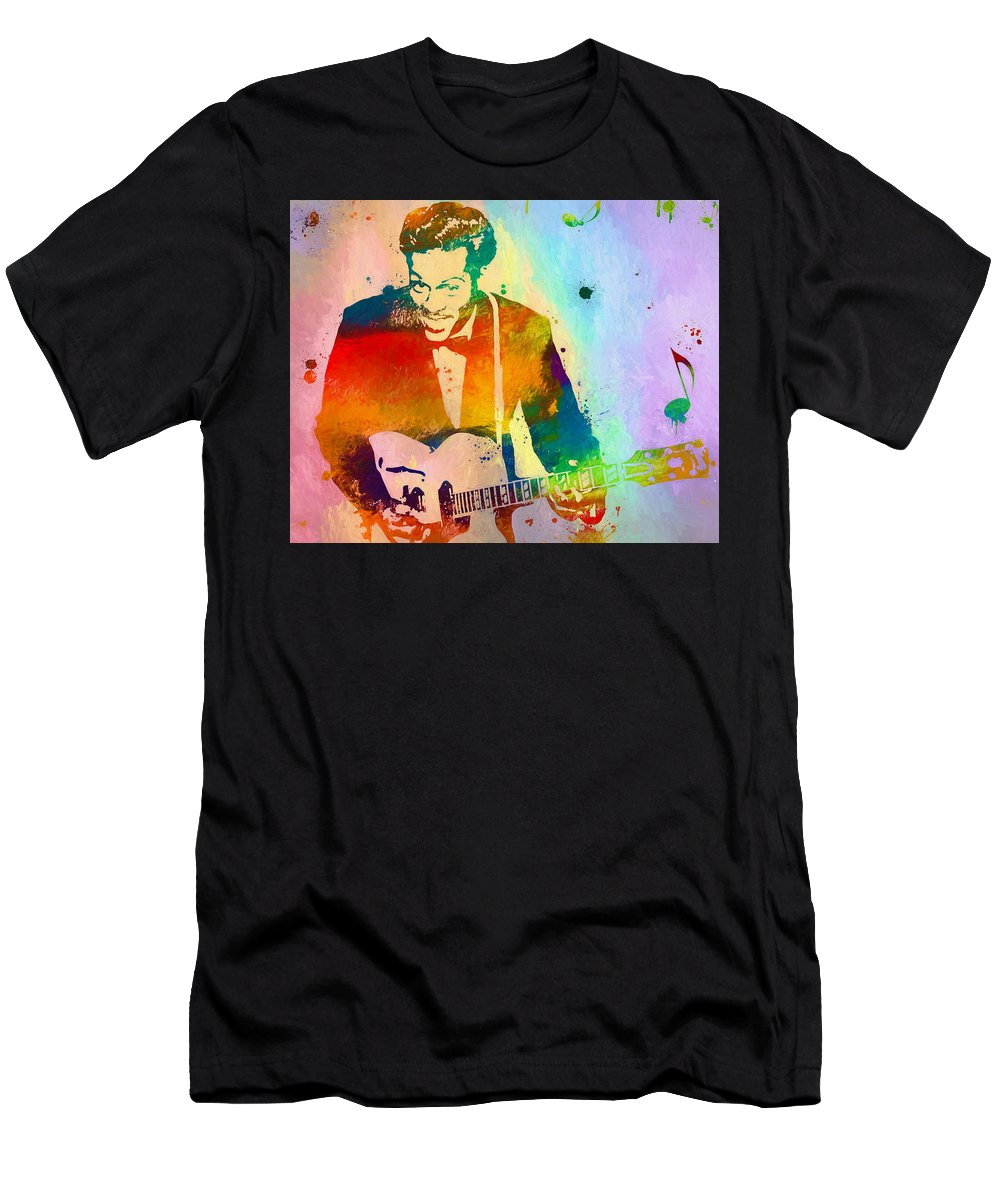 Chuck Berry Paint Splatter Men's T-Shirt (Athletic Fit) featuring the painting Chuck Berry Paint Splatter by Dan Sproul