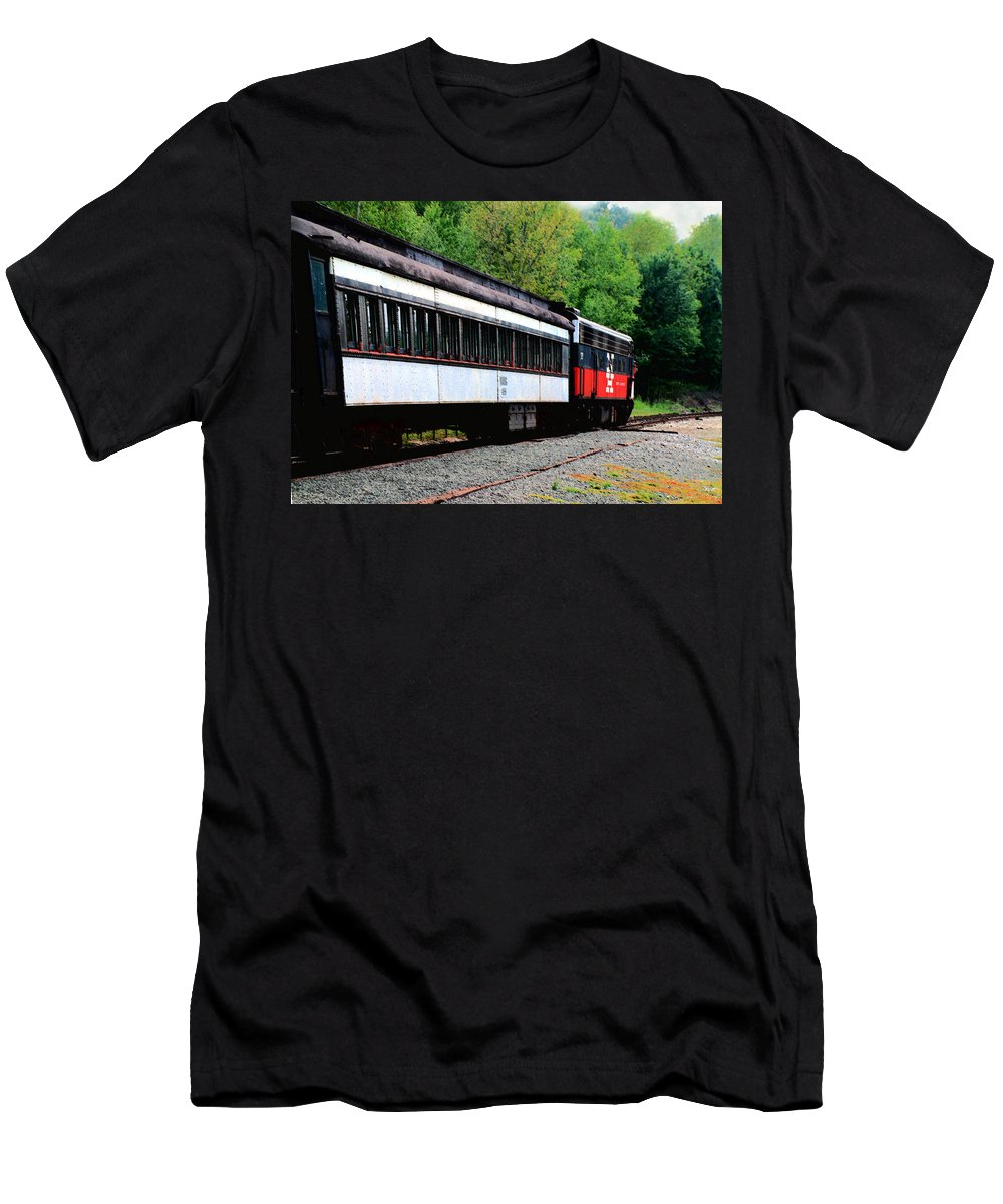 Train Men's T-Shirt (Athletic Fit) featuring the photograph Chugging Along by RC DeWinter