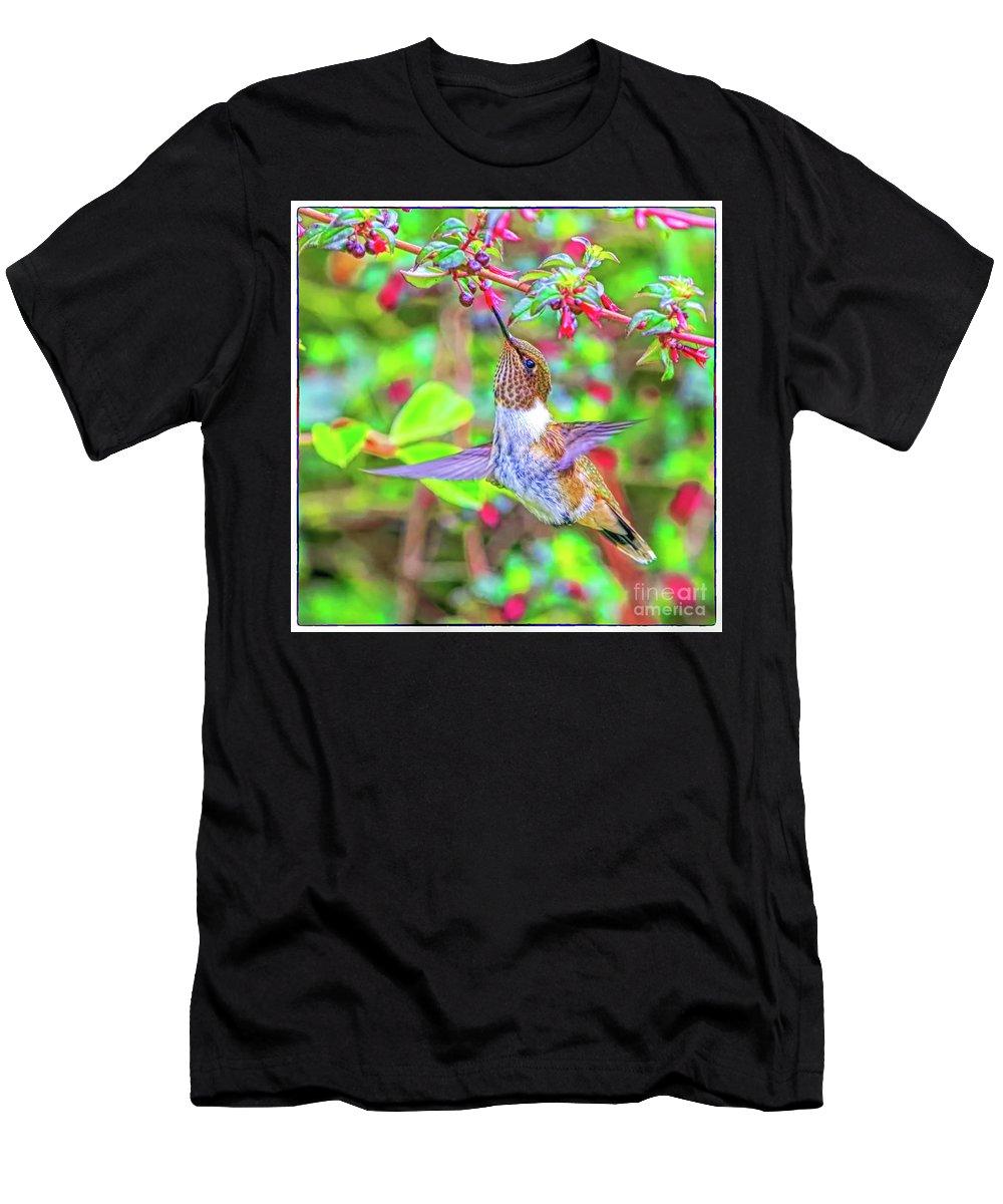 Hummingbird Men's T-Shirt (Athletic Fit) featuring the photograph Chupaflor by Edita De Lima