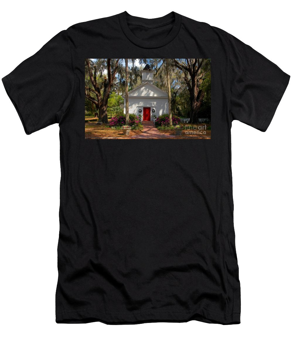 Micanopy Florida Men's T-Shirt (Athletic Fit) featuring the photograph Church At Micanopy by David Lee Thompson