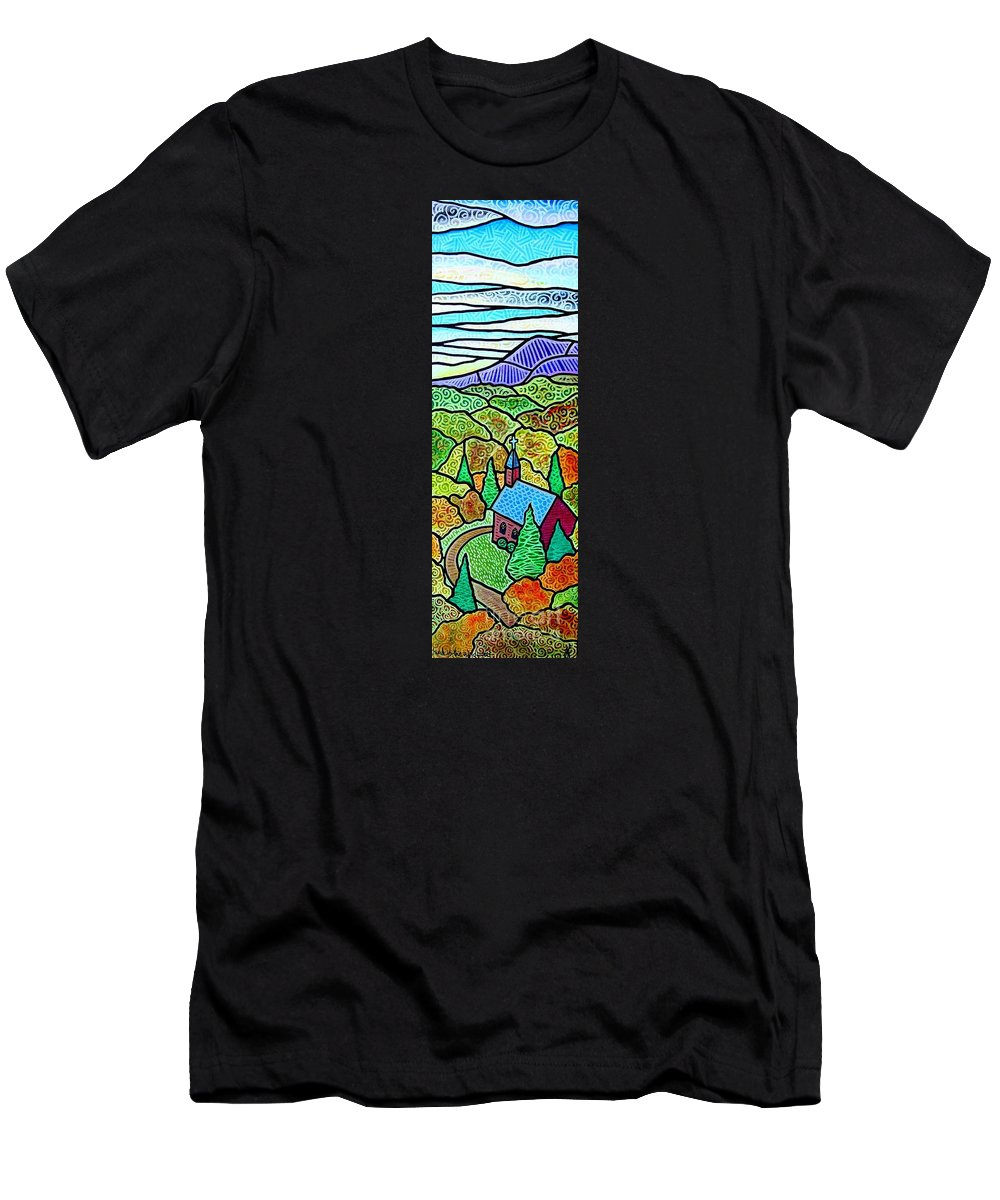 Church Men's T-Shirt (Athletic Fit) featuring the painting Church In The Wildwood by Jim Harris