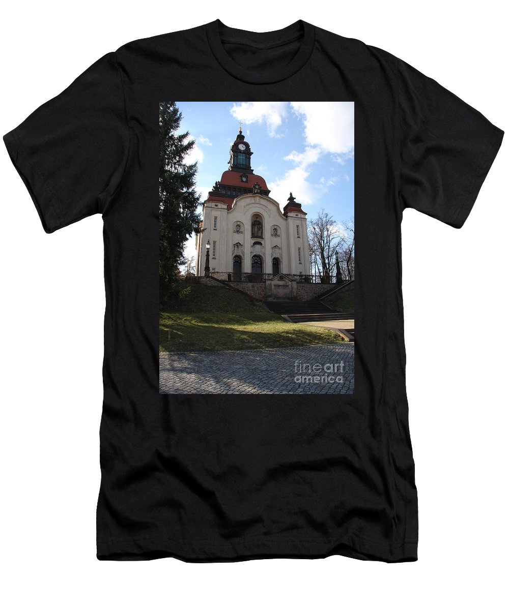 Church Men's T-Shirt (Athletic Fit) featuring the photograph Church On The Hill by Christiane Schulze Art And Photography