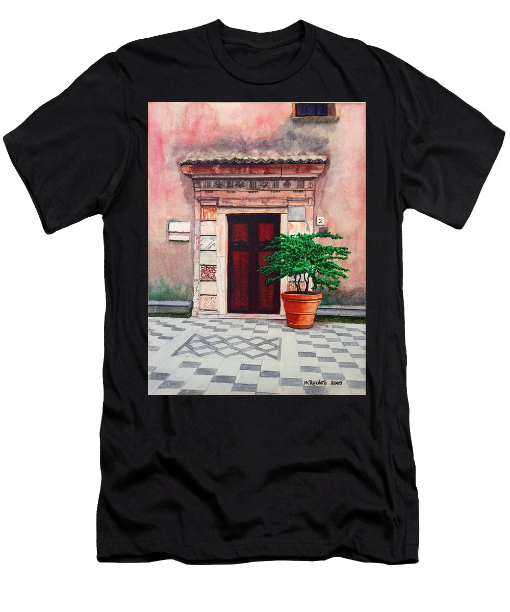 Church Men's T-Shirt (Athletic Fit) featuring the painting Church Side Door - Taormina Sicily by Mike Robles