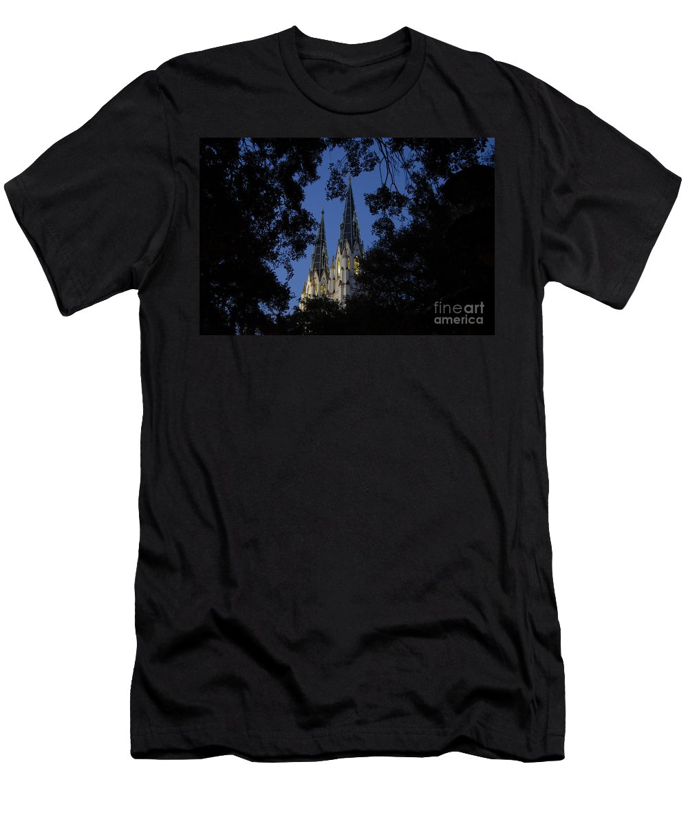Church Steeple Men's T-Shirt (Athletic Fit) featuring the photograph Church Steeples by David Lee Thompson