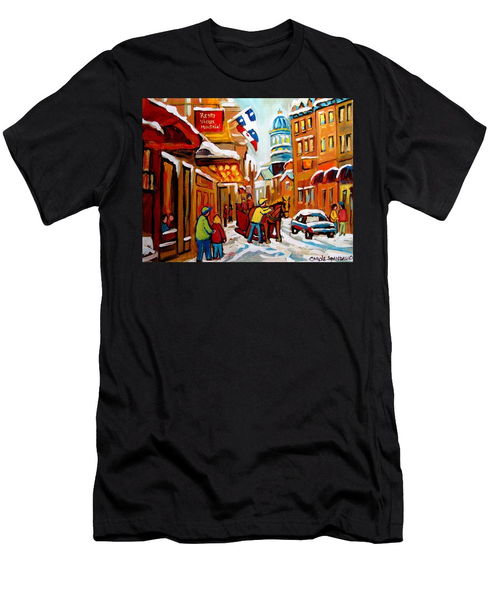 Church Steeet In Winter Men's T-Shirt (Athletic Fit) featuring the painting Church Street In Winter by Carole Spandau