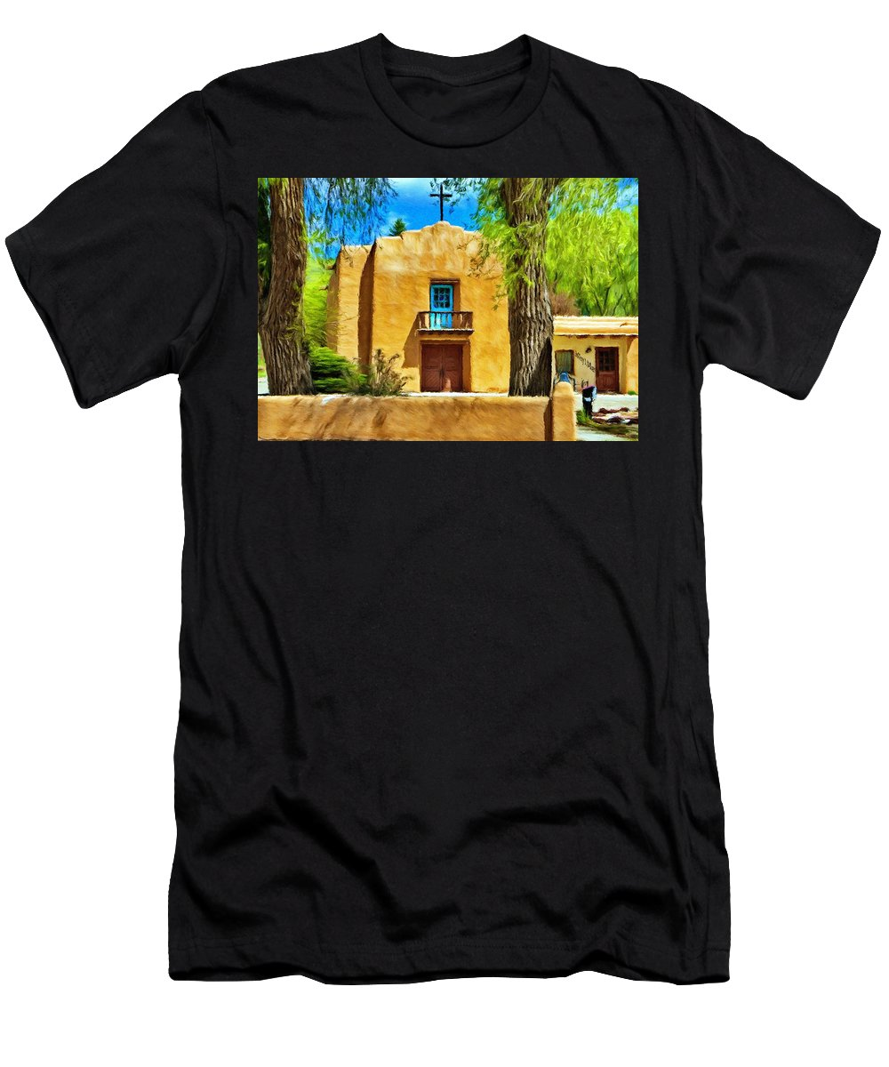 Chapel Men's T-Shirt (Athletic Fit) featuring the painting Church With Blue Door by Jeffrey Kolker