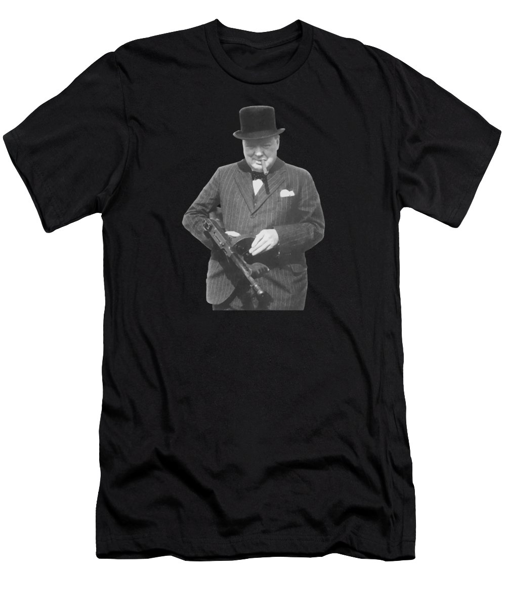 Winston Churchill Men's T-Shirt (Athletic Fit) featuring the painting Churchill Posing With A Tommy Gun by War Is Hell Store
