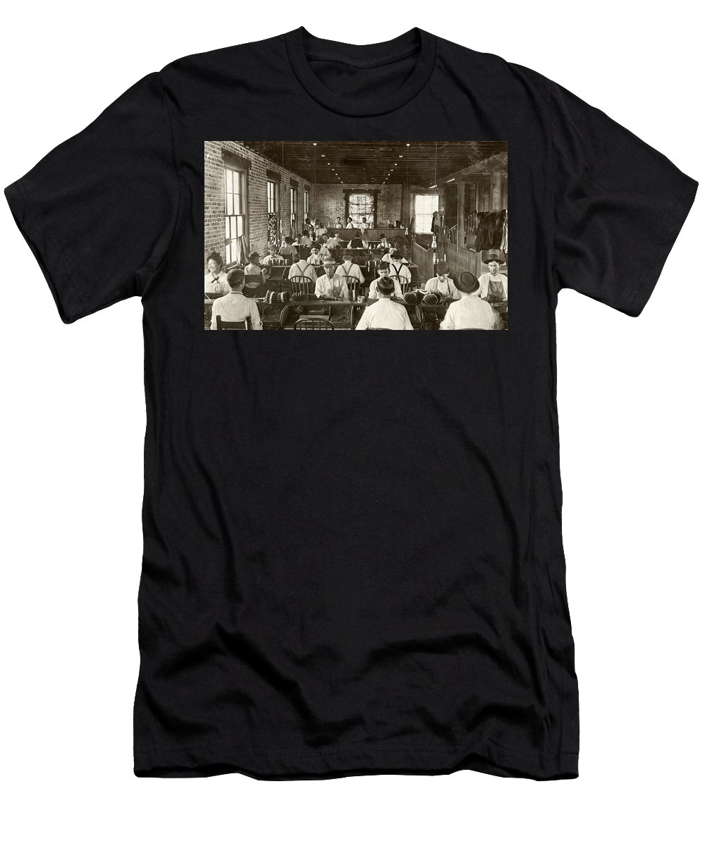 1909 Men's T-Shirt (Athletic Fit) featuring the photograph Cigar Factory, 1909 by Granger
