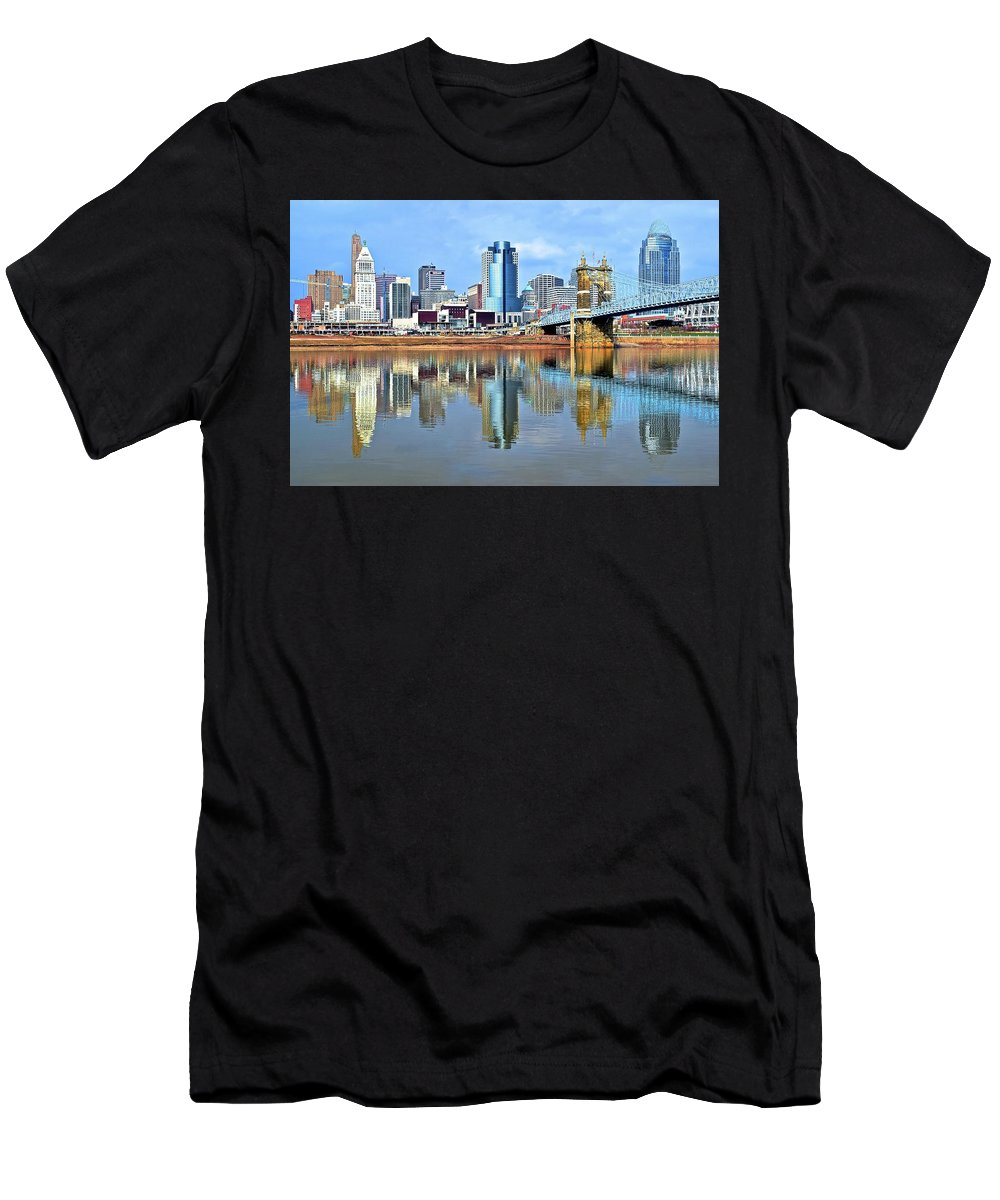 Cincinnati Men's T-Shirt (Athletic Fit) featuring the photograph Cincinnati Ohio Times Two by Frozen in Time Fine Art Photography