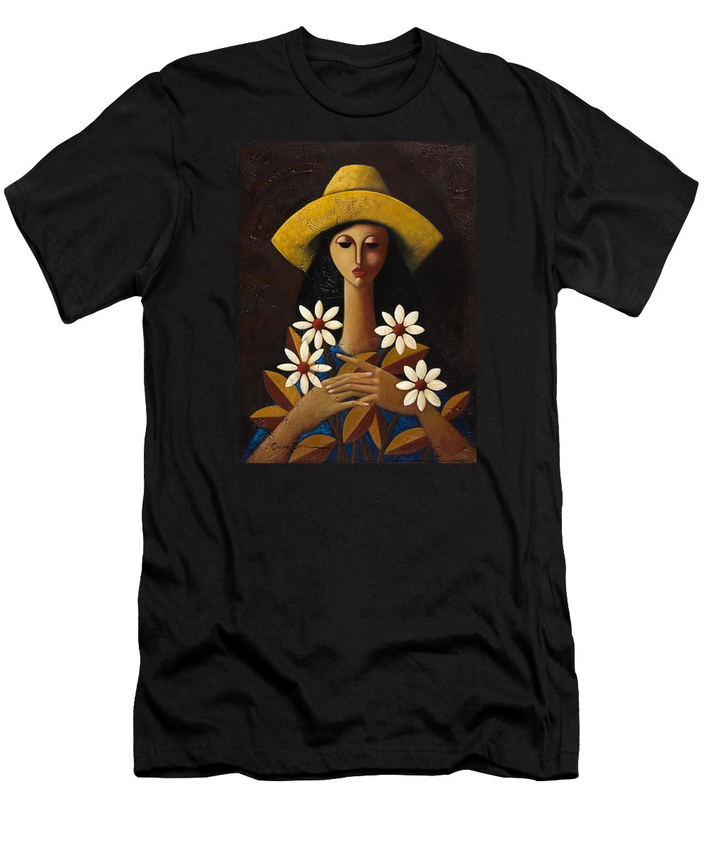 Puerto Rico Men's T-Shirt (Athletic Fit) featuring the painting Cinco Margaritas by Oscar Ortiz