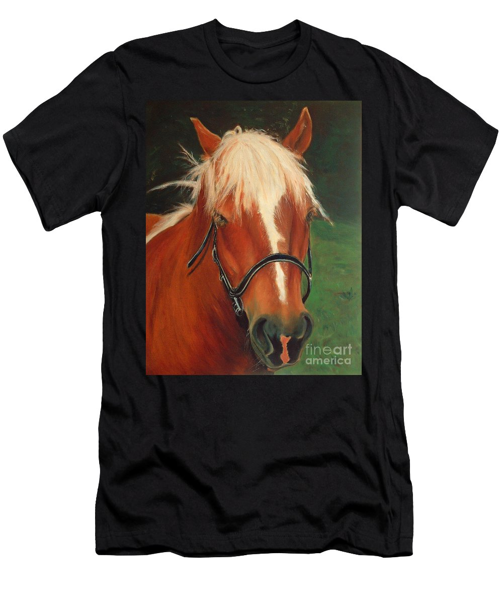 Euqestrian Art Men's T-Shirt (Athletic Fit) featuring the painting Cinnamon The Horse by Portraits By NC