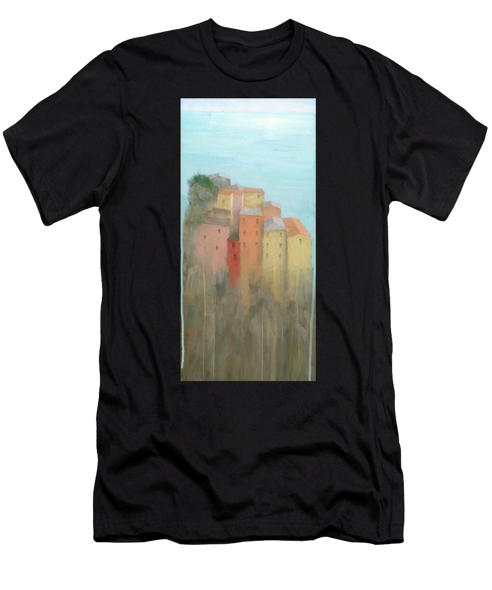 Art Men's T-Shirt (Athletic Fit) featuring the painting Cinque Terre by Steve Mitchell