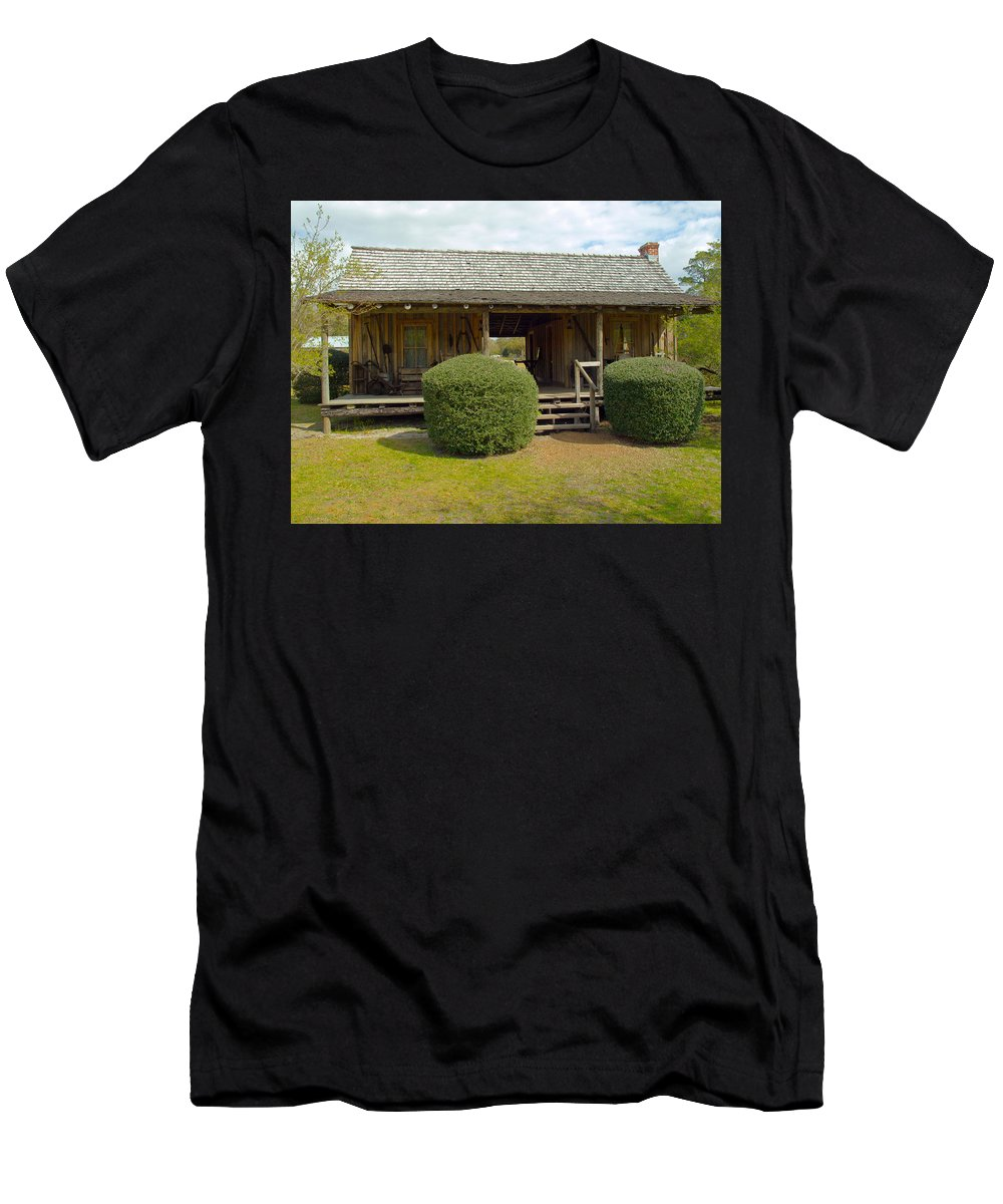 Cabin Men's T-Shirt (Athletic Fit) featuring the photograph Circa 1900 Dogtrot Cabin Of Ephriam Brown From Lake Mills Florida by Allan Hughes