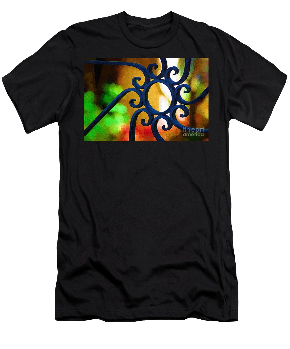Iron Gate Men's T-Shirt (Athletic Fit) featuring the photograph Circle Design On Iron Gate by Donna Bentley