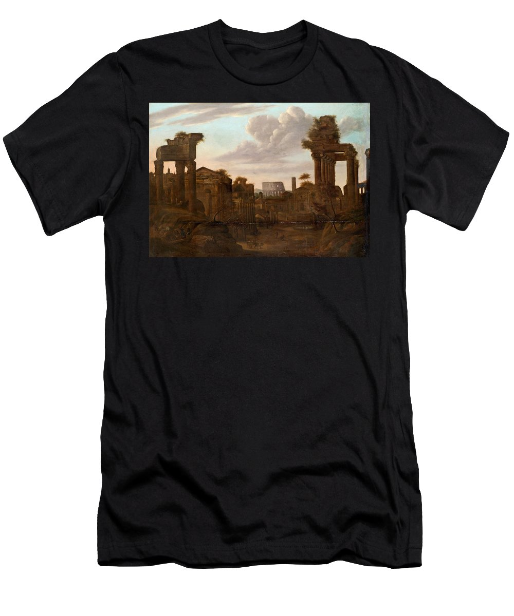 Pieter Van Bredael Flandern 1629-1719 Circle Of View Over Rome Men's T-Shirt (Athletic Fit) featuring the painting Circle Of View Over Rome by MotionAge Designs