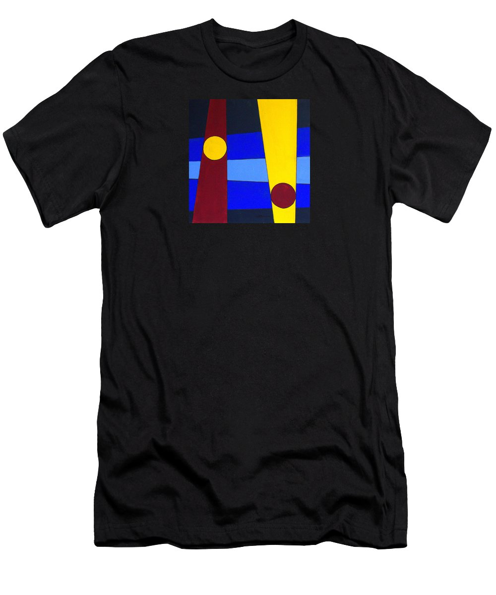 Abstract Men's T-Shirt (Athletic Fit) featuring the painting Circles Lines Color by J R Seymour