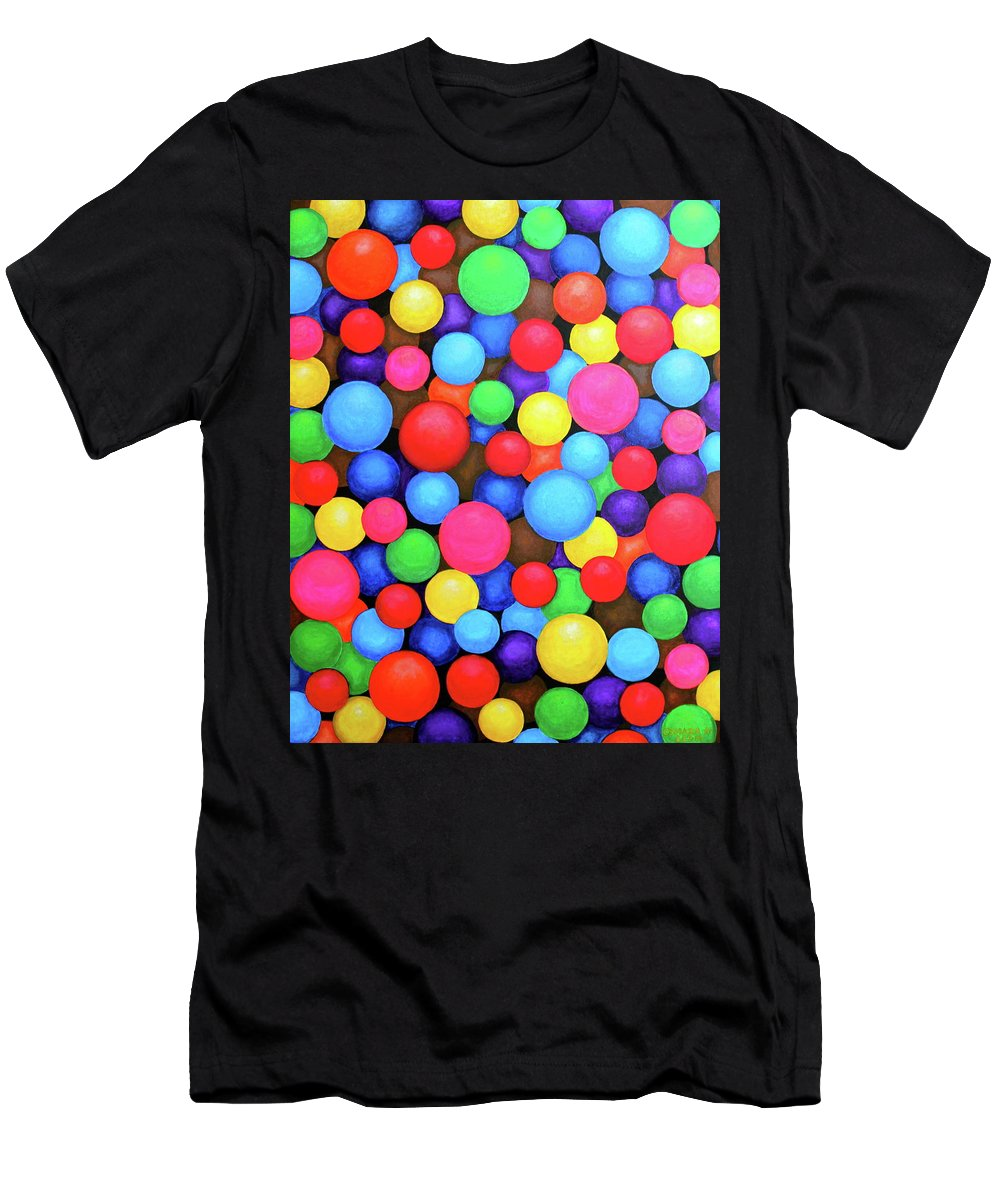 Abstraction Men's T-Shirt (Athletic Fit) featuring the painting Circles by Lorna Maza